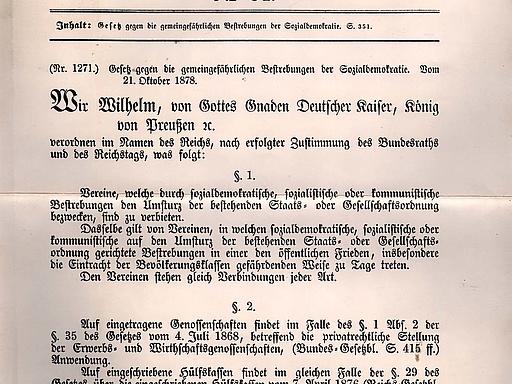 """Gesetz gegen die gemeingefährlichen Bestrebungen der Sozialdemokratie (""""Sozialistengesetz"""")"""